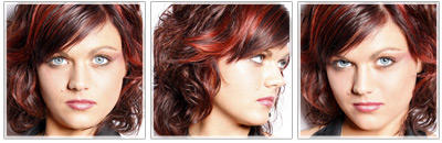 Brown mid-length hair with red highlights